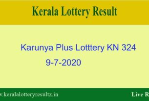 Karunya Plus Lottery KN 324 Result 9.7.2020 - Kerala Lottery Live