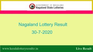 Nagaland State Lottery Sambad (8 pm) Result 30.7.2020 Today {Live*}