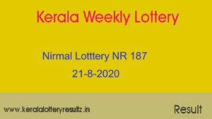 Nirmal Lottery NR 187 Result Today 21.8.2020 (Live)