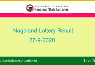 Nagaland State Lottery Result (7 PM) Result 27.9.2020 Today Live*