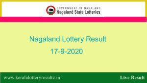 Nagaland State Lottery Sambad (8 PM) Result 17.9.2020 Today Live*