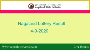 Nagaland State Lottery Sambad (8 PM) Result 4.9.2020 Today Live*