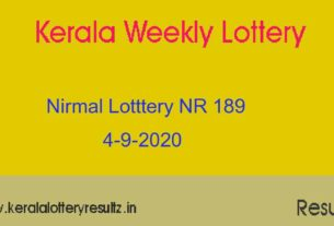 Nirmal Lottery NR 189 Result Today 4.9.2020 (Live)