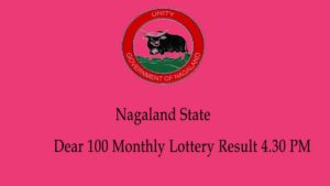 Nagaland Dear 100 Monthly Lottery Result 4.30 PM