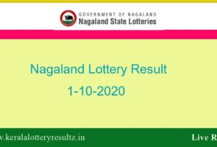 Nagaland State Lottery Sambad (8 PM) Result 1.10.2020 Today Live*