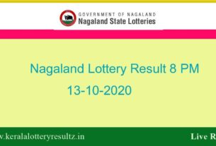 Nagaland State Lottery Sambad (8 PM) Result 13.10.2020 Today Live*