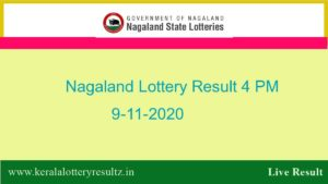Lottery Sambad (4 PM) Result 9.11.2020 : Nagaland State Lottery