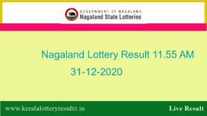 Nagaland Lottery Sambad (11.55 AM) Result 31.12.2020 : Dear Morning Result Live, 11:55 AM