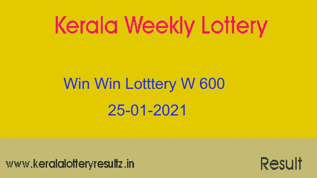 WIN WIN Lottery W 600 Result 25.01.2021 : Kerala Lottery Result (OUT)