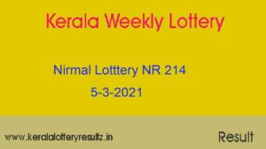 Nirmal (NR 214) Lottery Result 5.3.2021 : Kerala Lottery Result