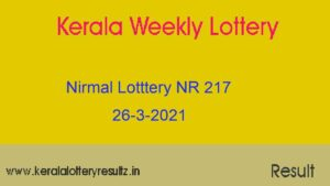 Nirmal (NR 217) Lottery Result 26.3.2021 : Kerala Lottery Result Out