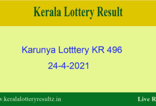 Karunya Lottery KR 496 Result 24.4.2021 {OUT} : Check Kerala Lottery Result