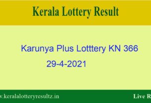 Karunya Plus (KN 366) Lottery Result 29.4.2021 Out - Kerala Lottery Result