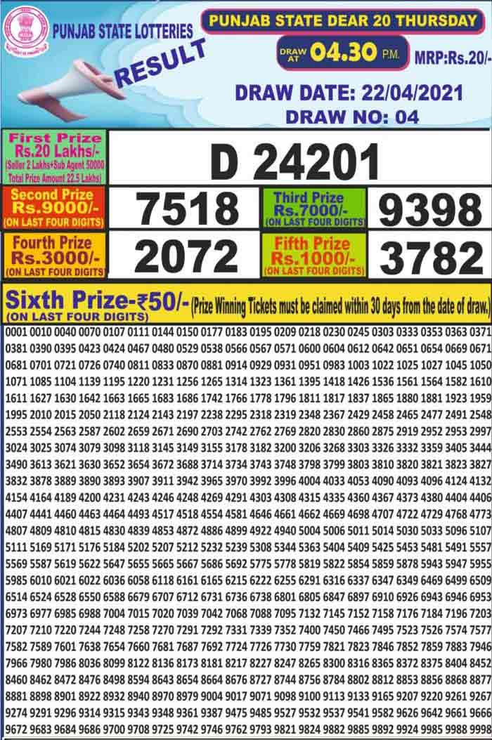 Punjab Dear 20 Thursday Lottery Result