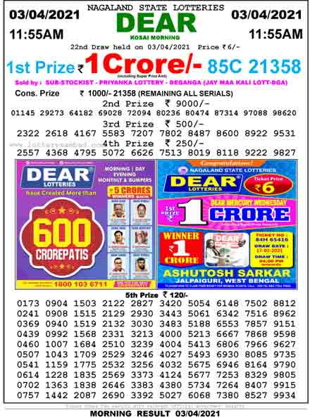 Lottery Sambad Result 11.55 am - Nagaland Morning Result