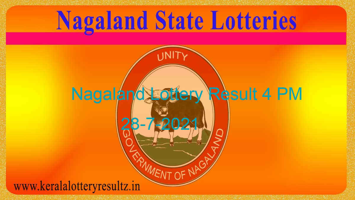 Lottery Sambad 4 PM Result (OUT) 28.7.2021, Nagaland Day Lottery, 4pm Live*