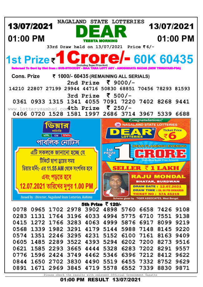 Sambad 1 PM Lottery Result 13.7.2021 - Nagaland State 1 PM Result