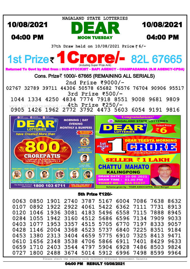 Nagaland 4 PM Lottery Result 10.8.2021