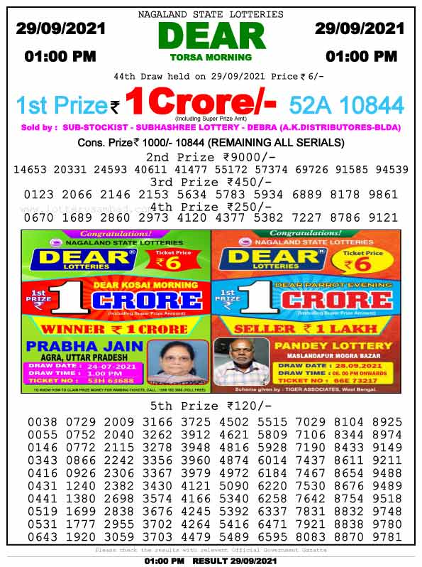 Lottery Sambd 1pm result 29.9.2021