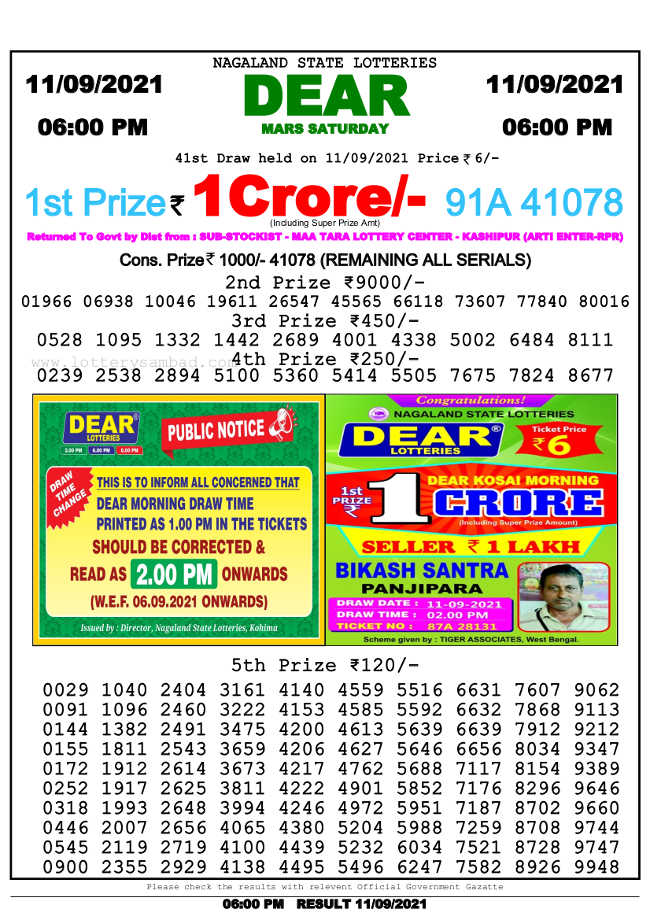 Nagaland 6 pm lottery result 11.09.2021