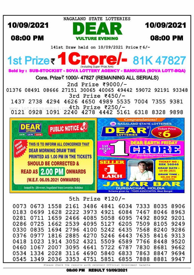 Nagaland 8 PM Lottery Result 10.9.2021