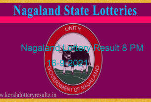 Nagaland State Lottery Sambad 8 PM Result (16.9.2021): Live Result 8PM, Night