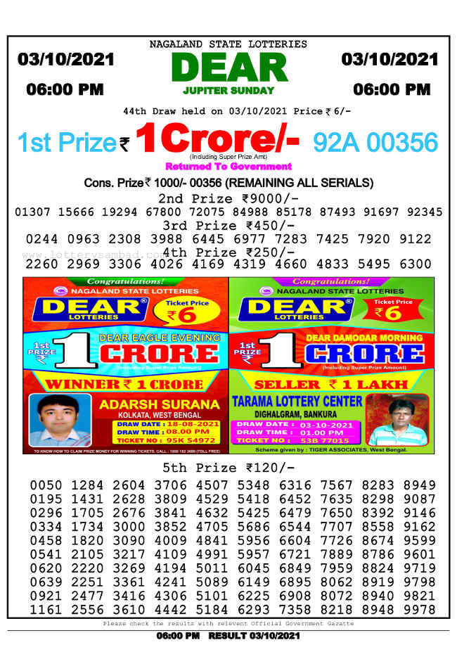 Nagaland state 6pm lottery result 3.10.2021