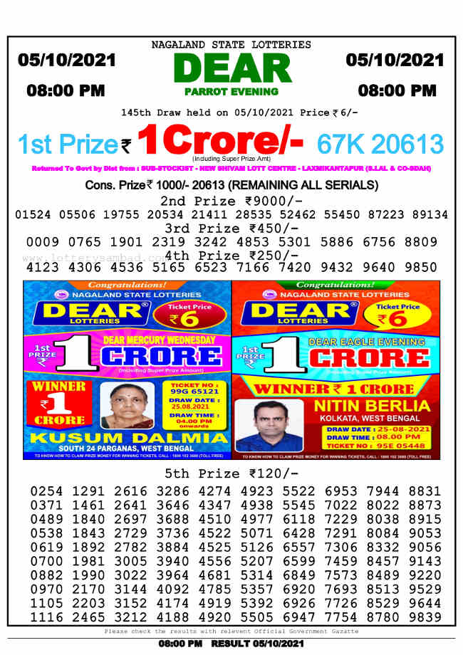 Nagaland 8pm lottery result 5.10.2021