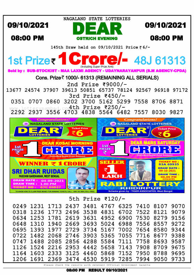 Nagaland State 8pm lottery result 9.10.2021